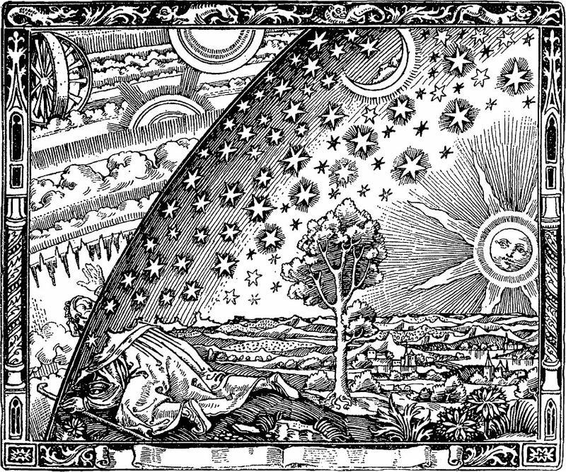 Tresnitt/gravering av flat jord-myten, av Camille Flammarion (1888). Wikimedia Commons.