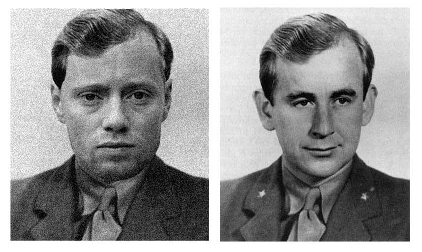 Aksel Hennie (til venstre) , og den virkelige Max Manus (til høyre), som fenrik under krigen.