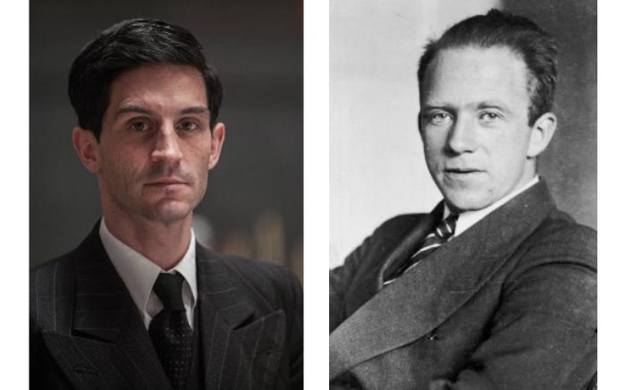 Den virkelige Werner Heisenberg (til høyre) og slik han ser ut i NRK-serien (t.v.), spilt av Christoph Bach.