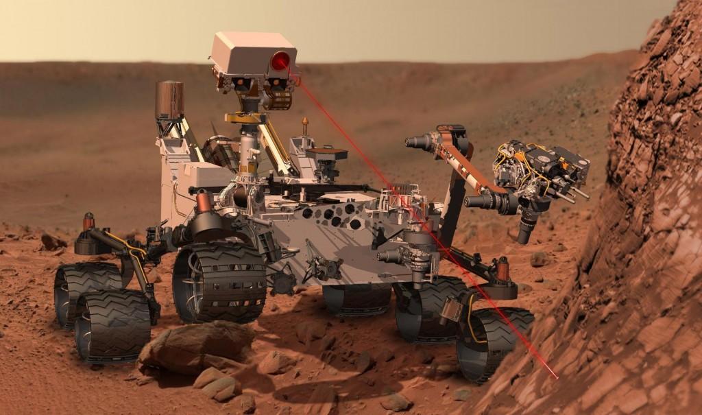 NB: Bildet viser ikke panoramaet, men en animasjon av roveren Curiosity som arbeider på Mars. Det interaktive panoramaet fra roveren finnes her. Foto: NASA/JPL-Caltech