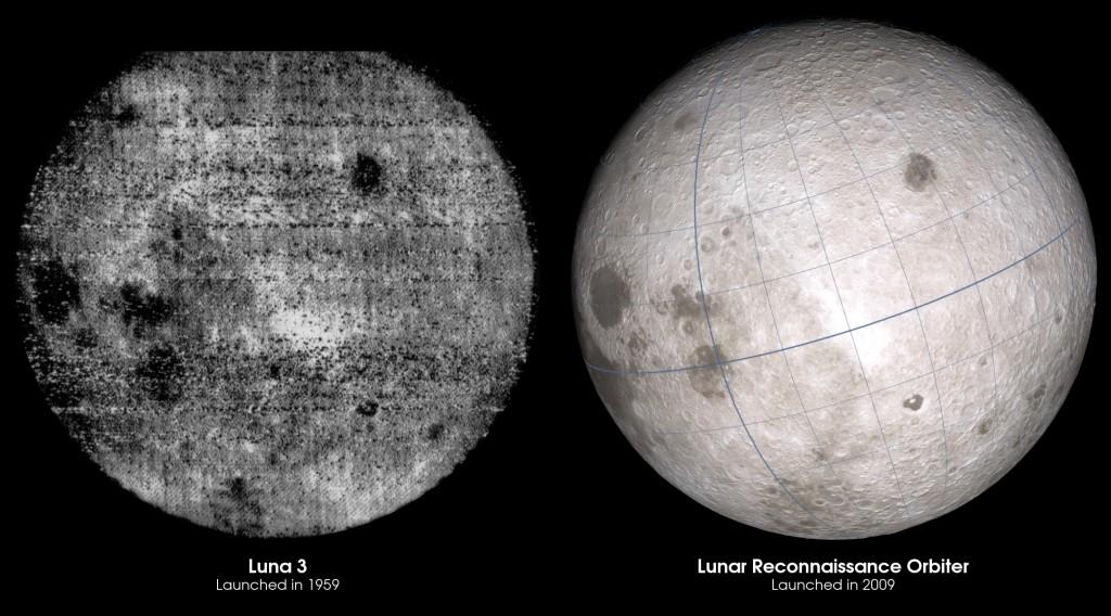 Månens bakside fotografert av Luna 3 i 1959 (t.v.) ved siden av et nytt bilde fra LRO. Foto: NASA
