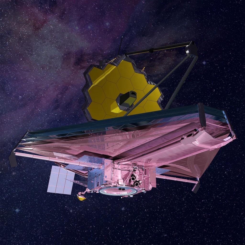 James Webb-romteleskopet, slik det vil se ut i rommet. Illustrasjon: Northrop Grumman. CC-lisens BY 2.0, via Flickr. Klikk for å se større versjon.