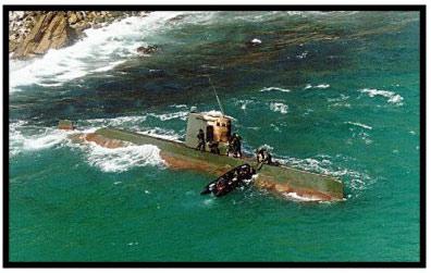 Nord-koreansk strandet i sør-koreansk farvann i 1996. Foto: U.S. Forces Korea
