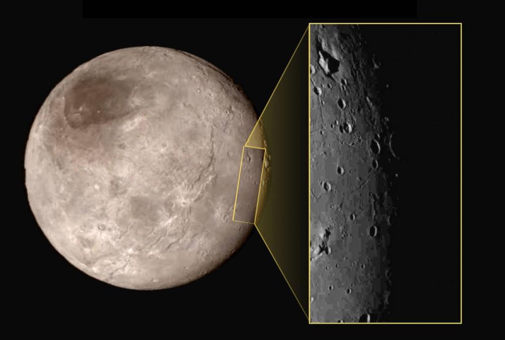 Månen Charon med detalj. Foto: NASA-JHUAPL-SwRI