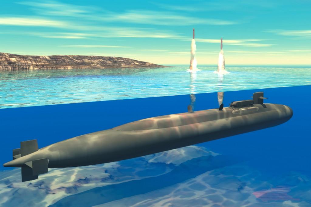 Hvordan det kan se ut når en Ohio-ubåt fyrer av to Tomahawk-missiler under vann. Illustrasjon: U. S. Navy