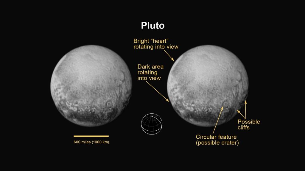 Dette bildet av Pluto, tatt av New Horizons lørdag 11. juli, viser mulige klipper og kratere på dvergplaneten. Foto: NASA/JHUAPL/SWRI