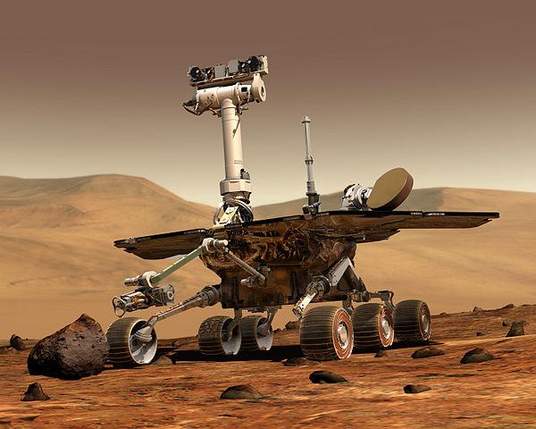 Illustrasjon av hvordan Spirit ser ut i Mars-landskapet. Illustrasjon: NASA