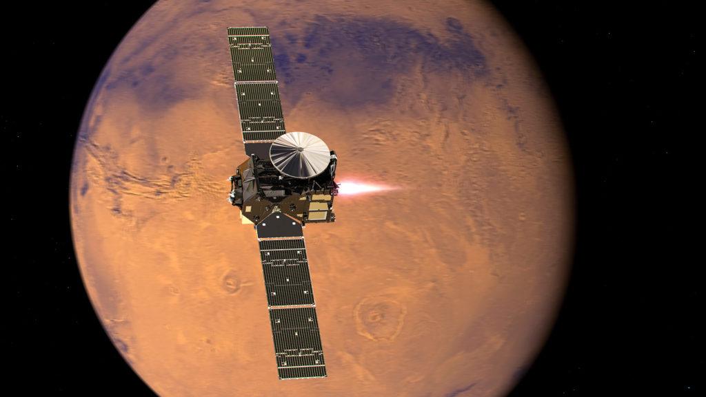 En illustrasjon av modulen som skal gå i bane rundt Mars. Foto: ESA